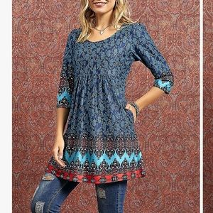 Reborn of New York Tunic 3/4 sleeve pockets NWT